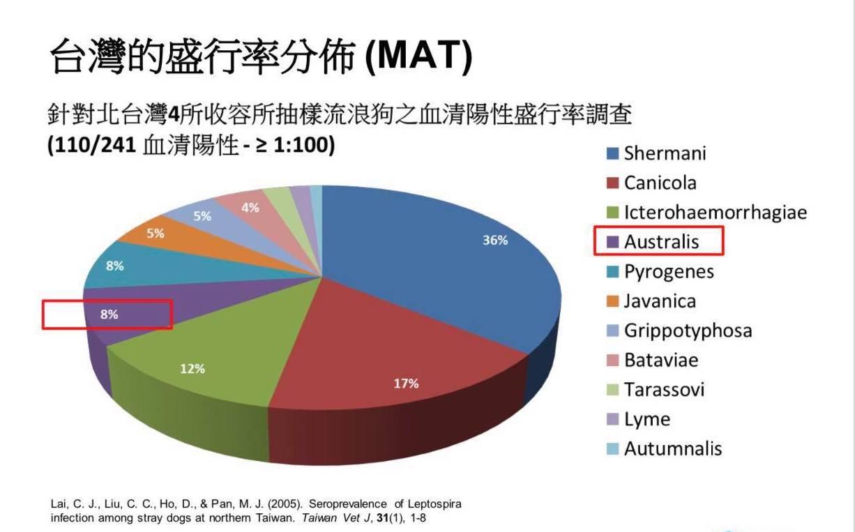 各型鉤端螺旋體在台灣的盛行率分佈